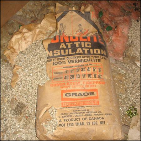Zonolite asbestos containing vermiculite attic insulation