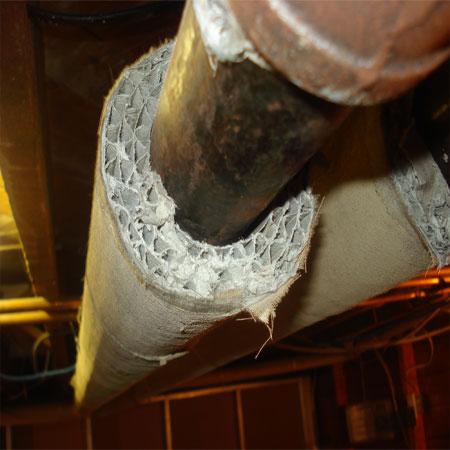 Asbestos pipe insulation.